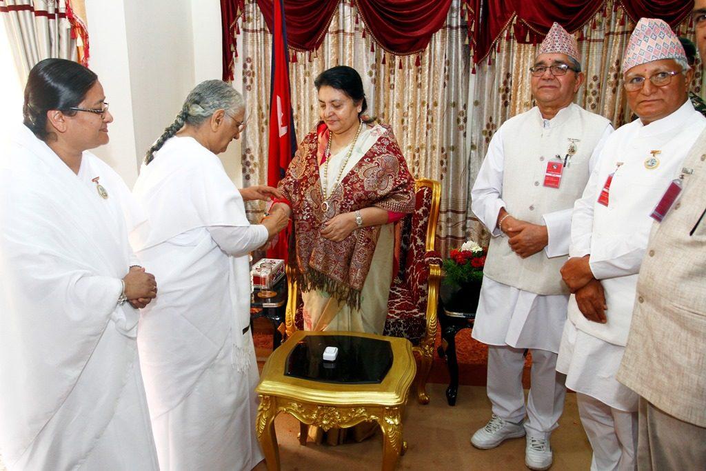 Kathmandu - Tying Rakhi to Hon'ble President, Prime Minister, Speaker, Ministers of Nepal